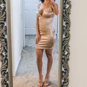 Satiny champagne mini dress